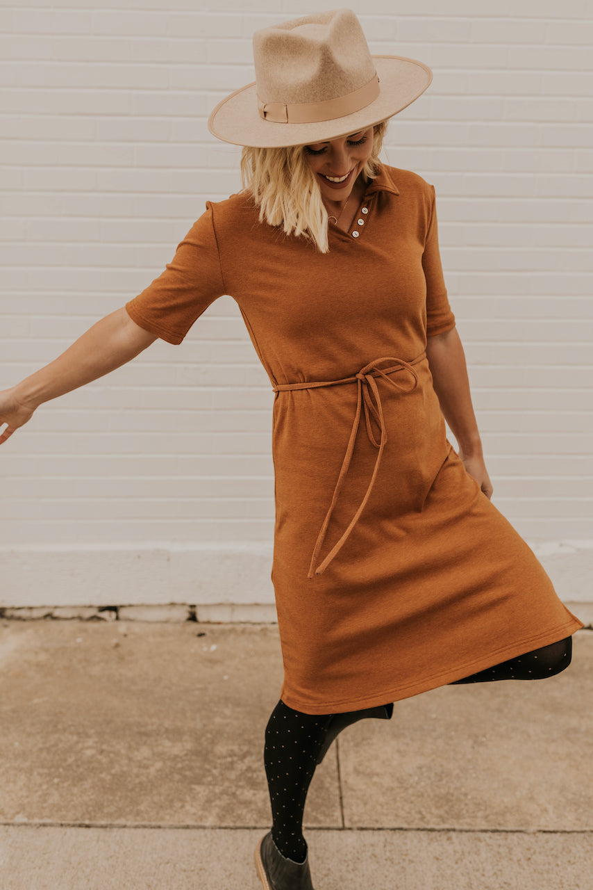 Rust Short Sleeve Dresses | ROOLEE