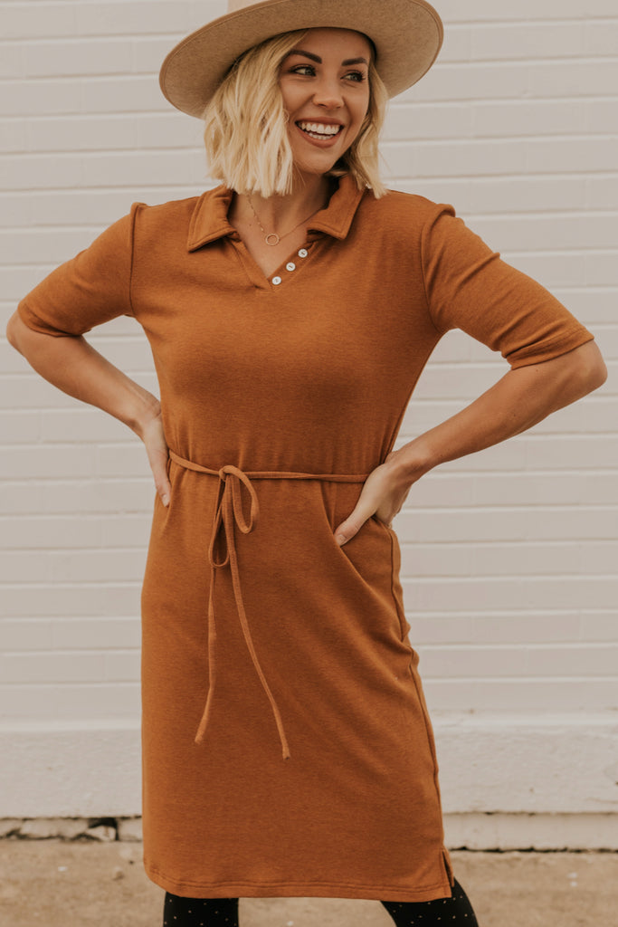 Rust Pencil Dress | ROOLEE