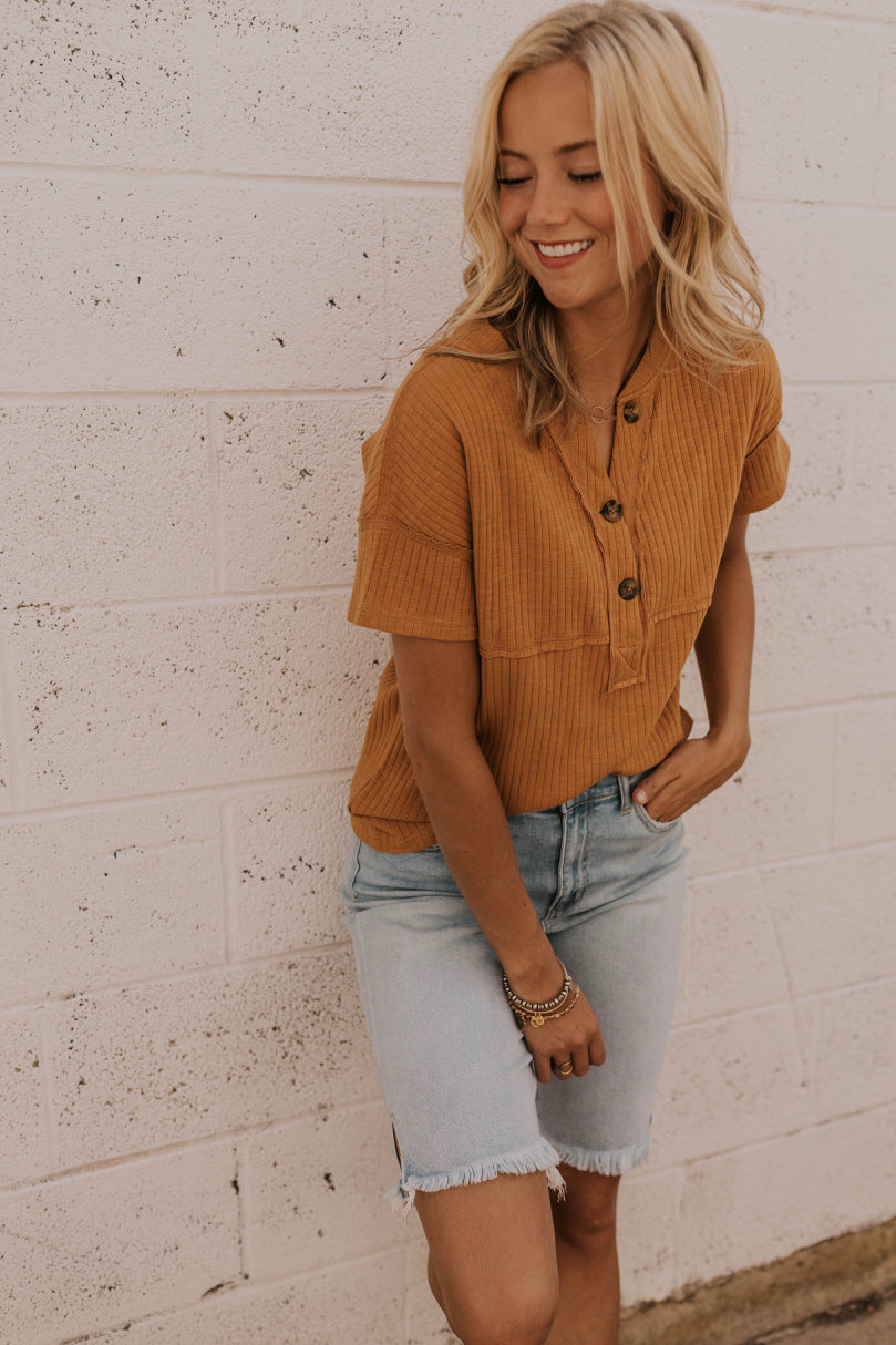 Rust Button Front Tee | ROOLEE