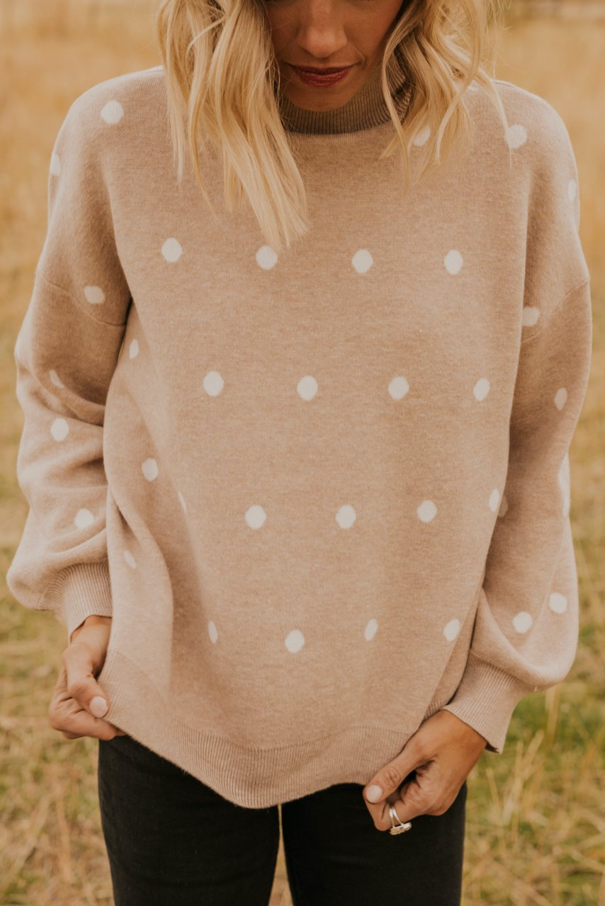 Taupe Mock Neck Cozy Sweater for Winter | ROOLEE