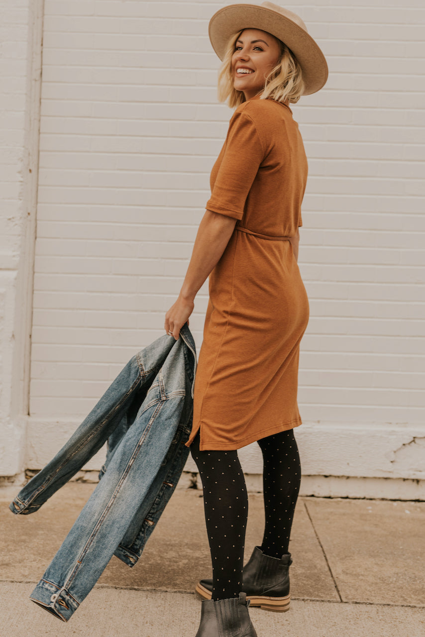 Orange Simple Dress | ROOLEE
