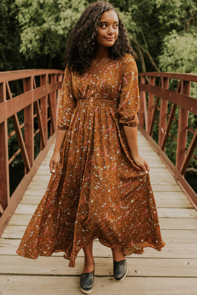 Brown Floral Dress | ROOLEE