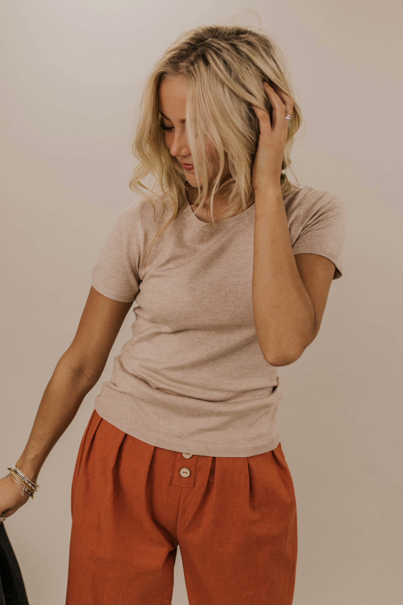 Khaki Knit Top Outfit Idea | ROOLEE
