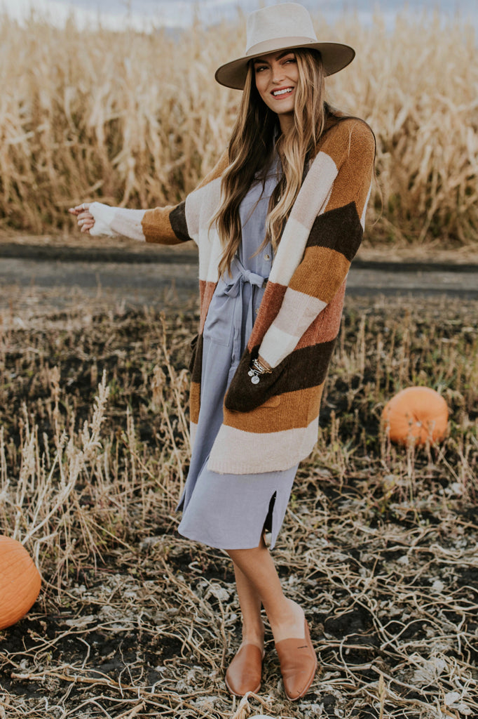 Cozy Colorblock Cardigan Outfit | ROOLEE