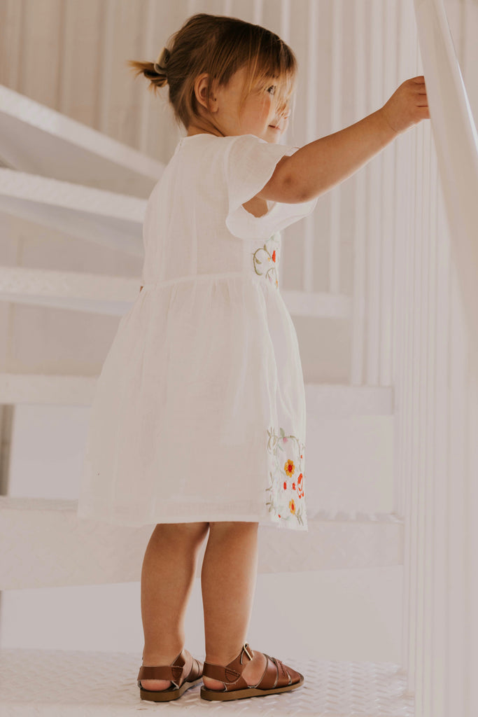 White Floral Kids Dress for Church | ROOLEE