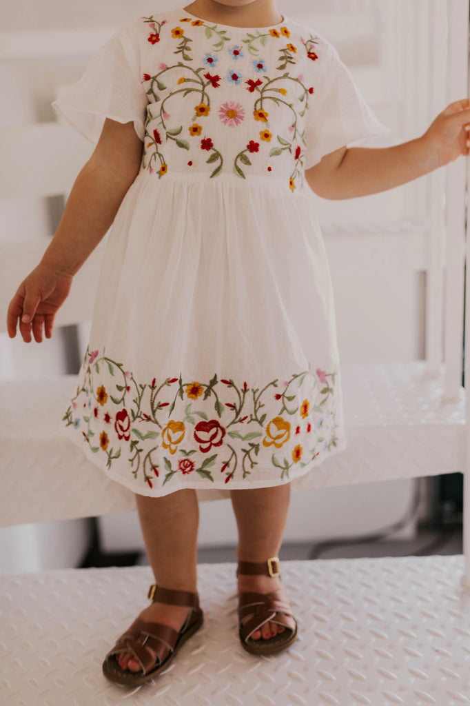 White Floral Embroidered Dress | ROOLEE