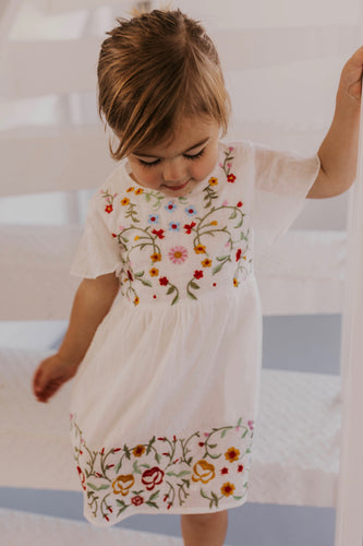 Girls Floral Embroidered Dress | ROOLEE