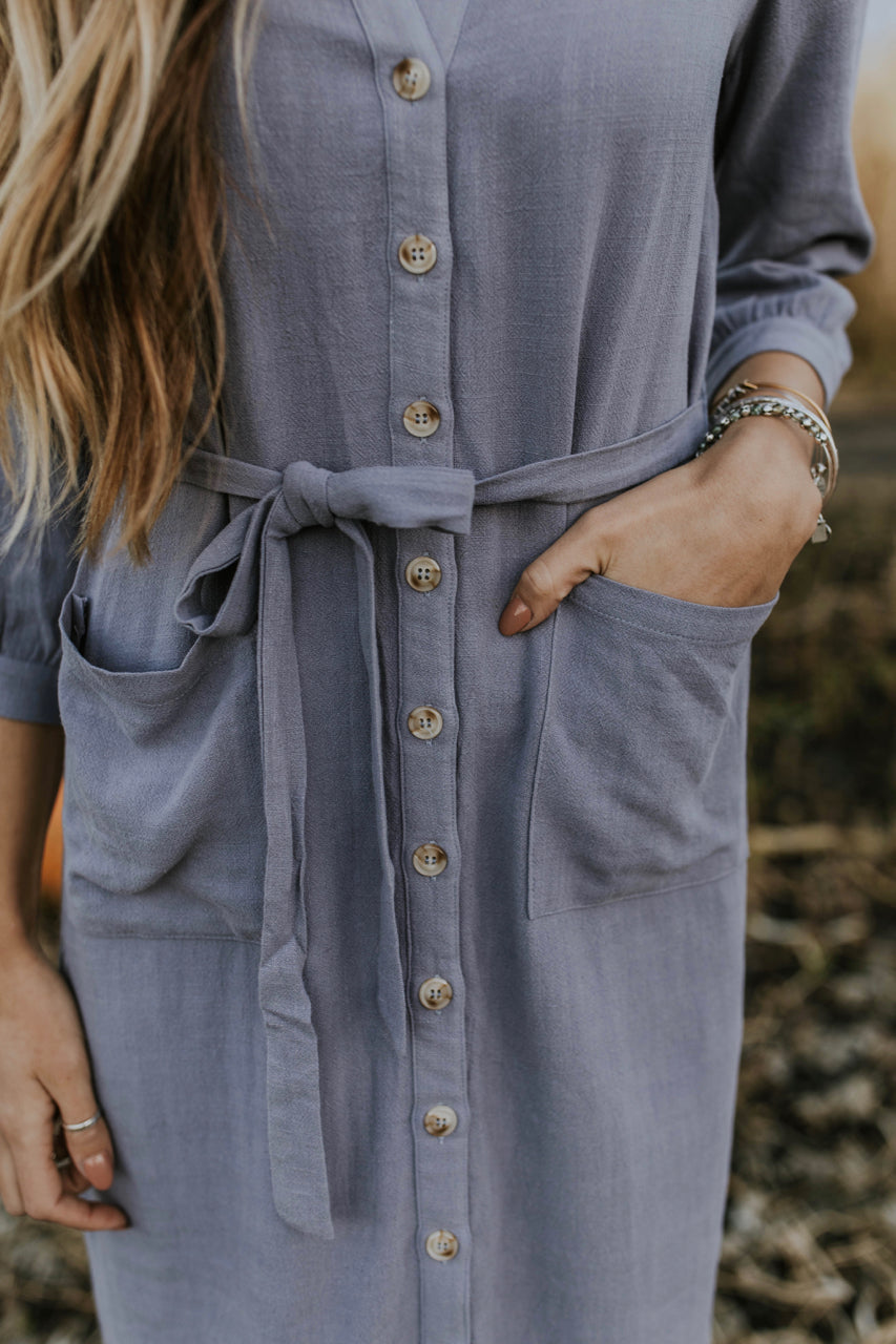 Pastel Blue Button Dress | ROOLEE