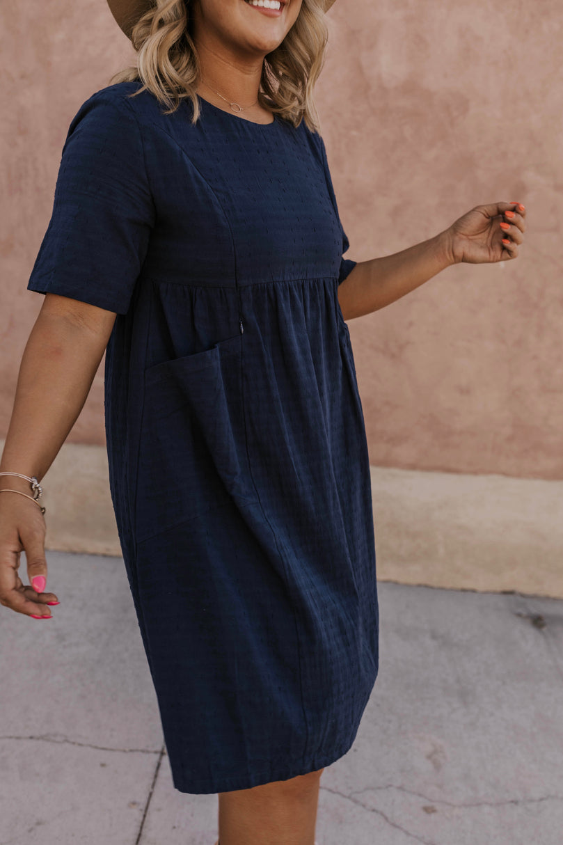Navy Nursing Friendly Dress | ROOLEE