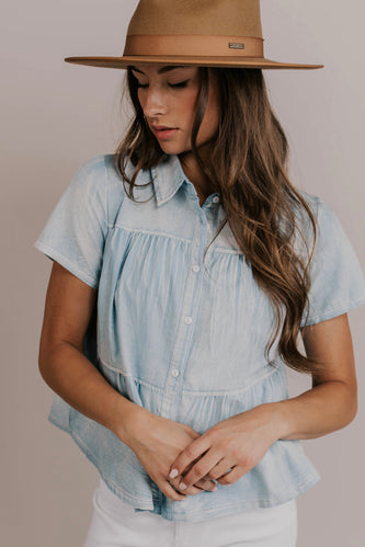 Denim Ruffle Top | ROOLEE