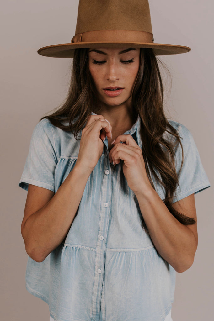 Nursing Friendly Denim Blouse | ROOLEE