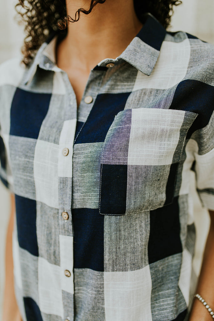 Navy + Cream Plaid Top | ROOLEE