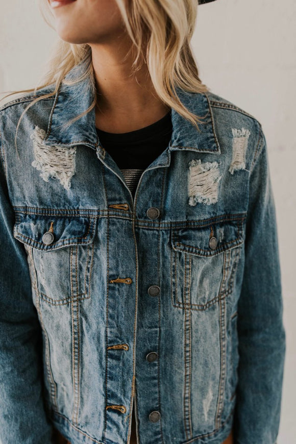 Distressed Denim Jacket | ROOLEE