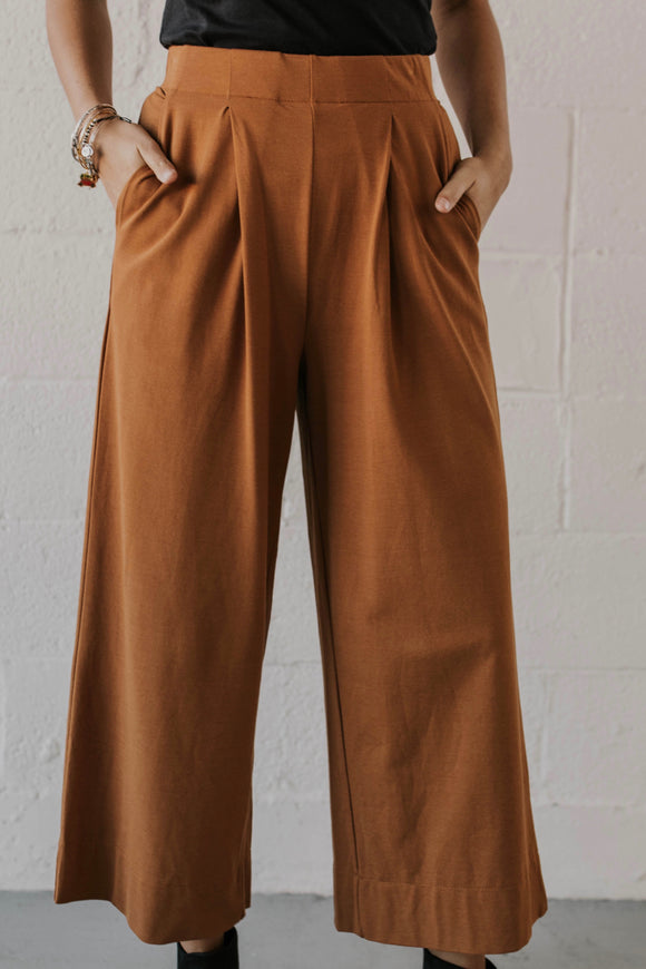 Camel Woven Wide Leg Pant | ROOLEE