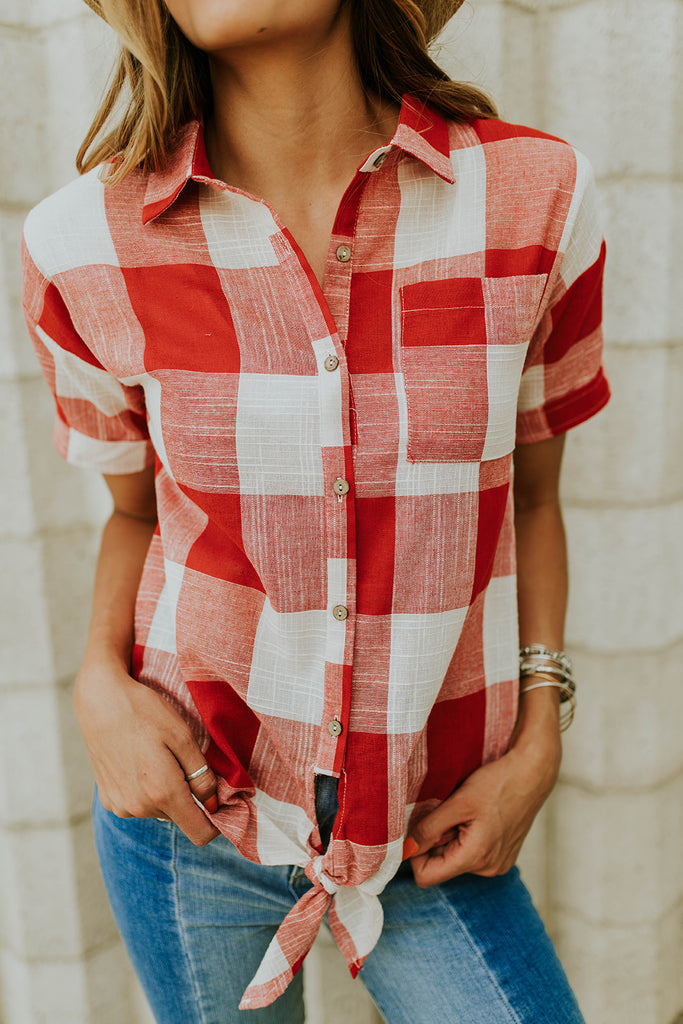 Red Plaid Tie Blouse | ROOLEE