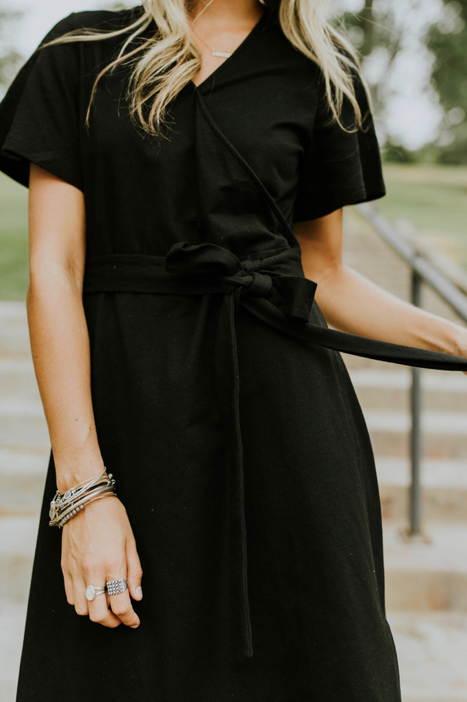 Black Wrap Dress | ROOLEE