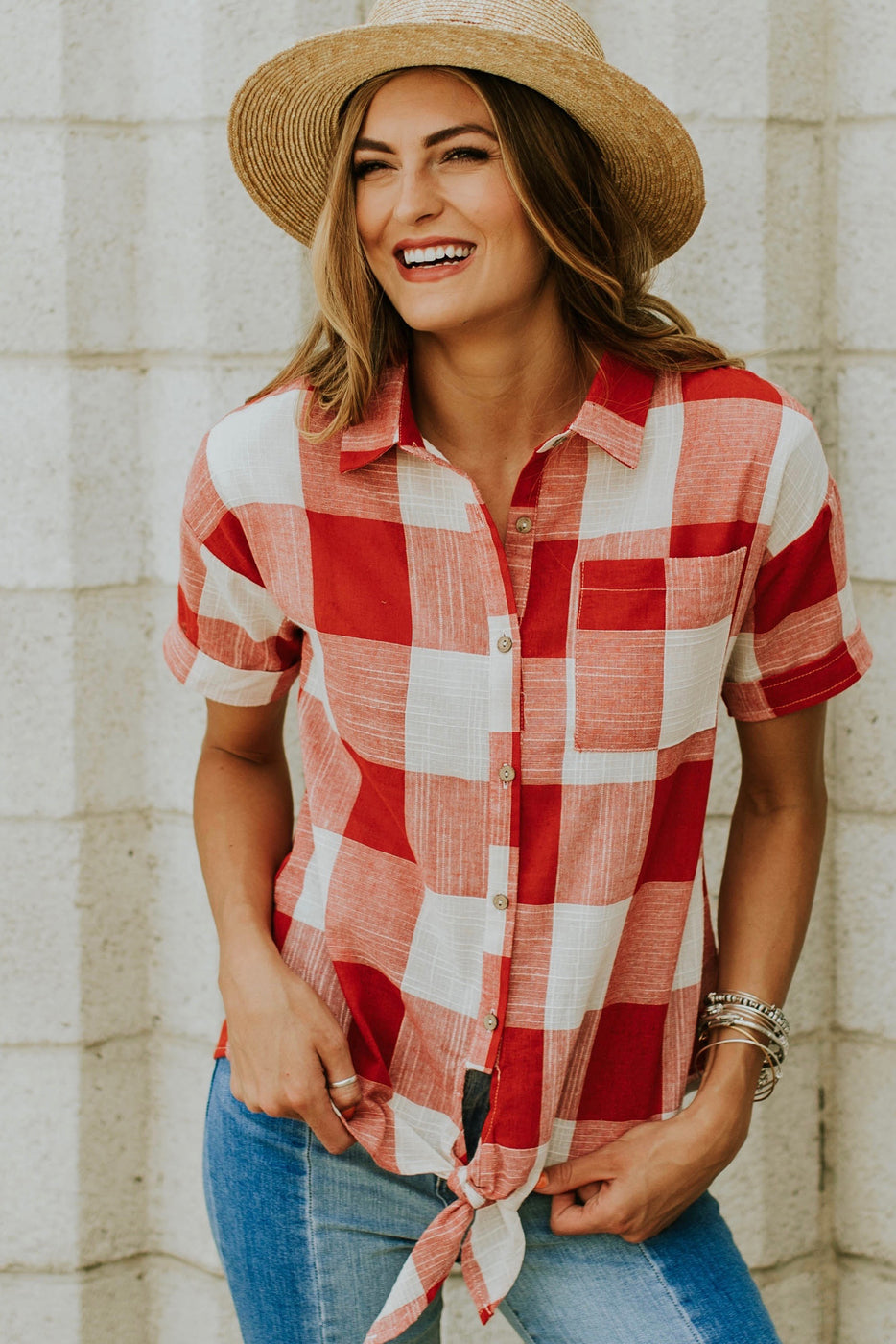 Laiken Plaid Top in Red | ROOLEE