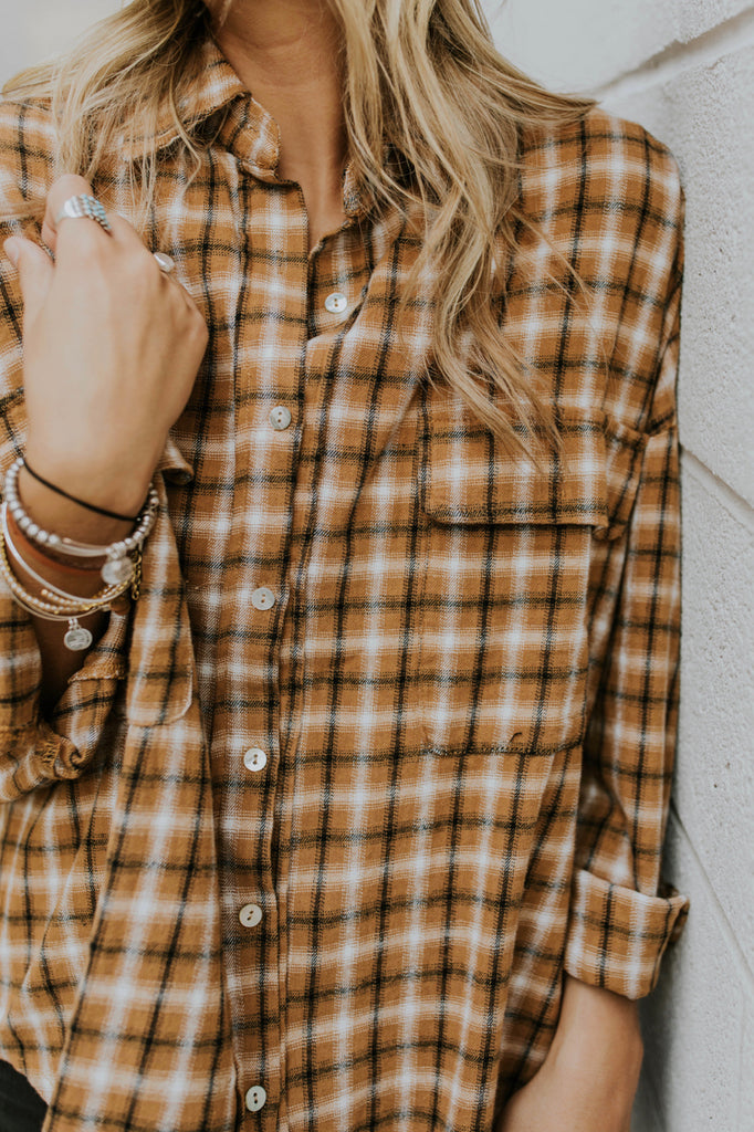 Mustard Fall Flannel For Women | ROOLEE
