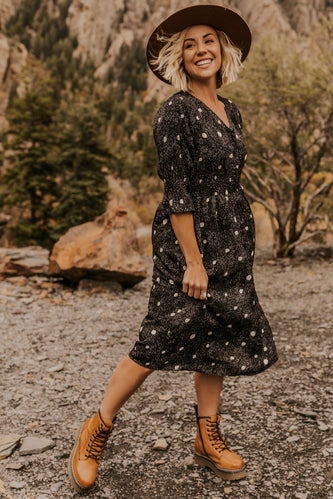 Black and White Polka Dot Dress Nursing Friendly | ROOLEE