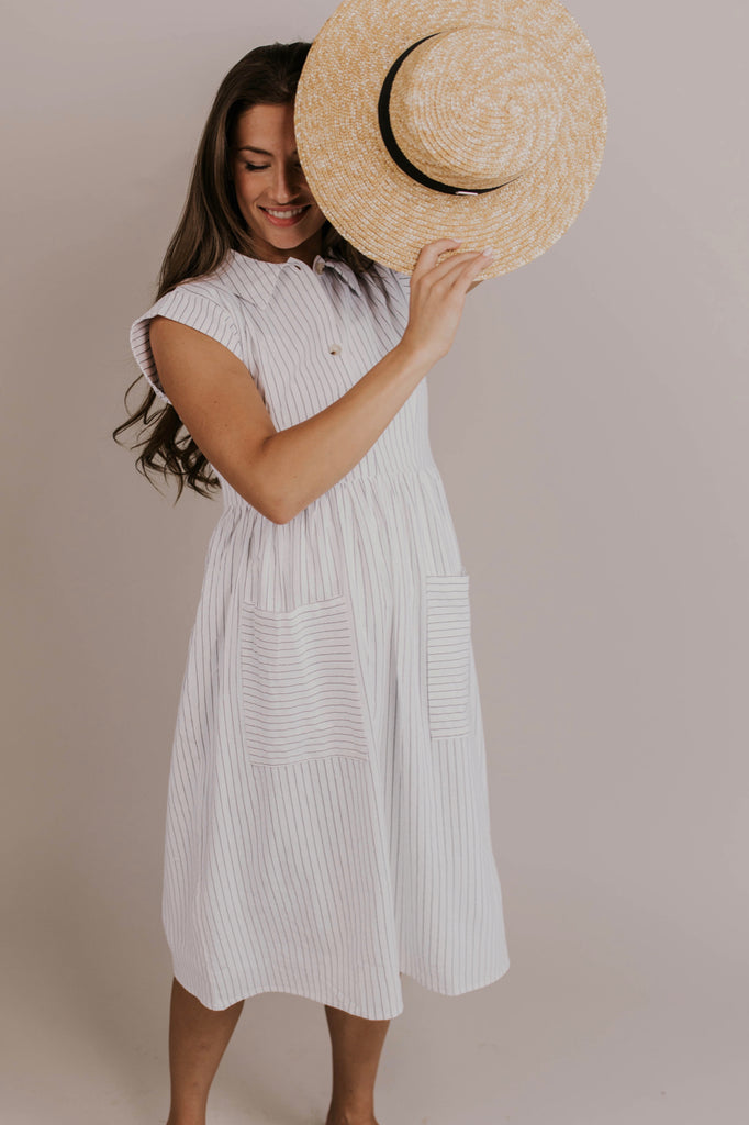 White Stripe Dress Outfit | ROOLEE