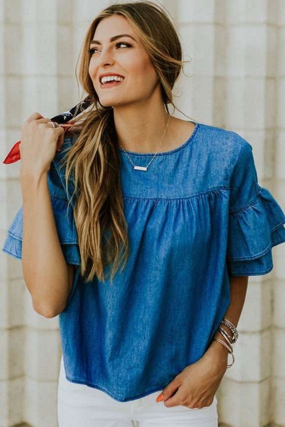 Southern Belle Denim Top | ROOLEE