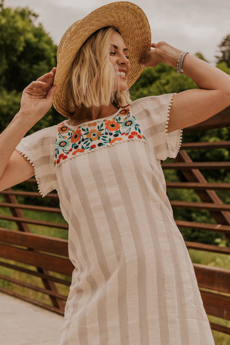 Embroidered Butterfly Sleeve Dress | ROOLEE