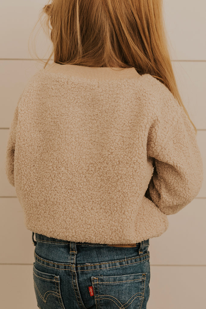 Girls Cream White Sherpa Pullover | ROOLEE