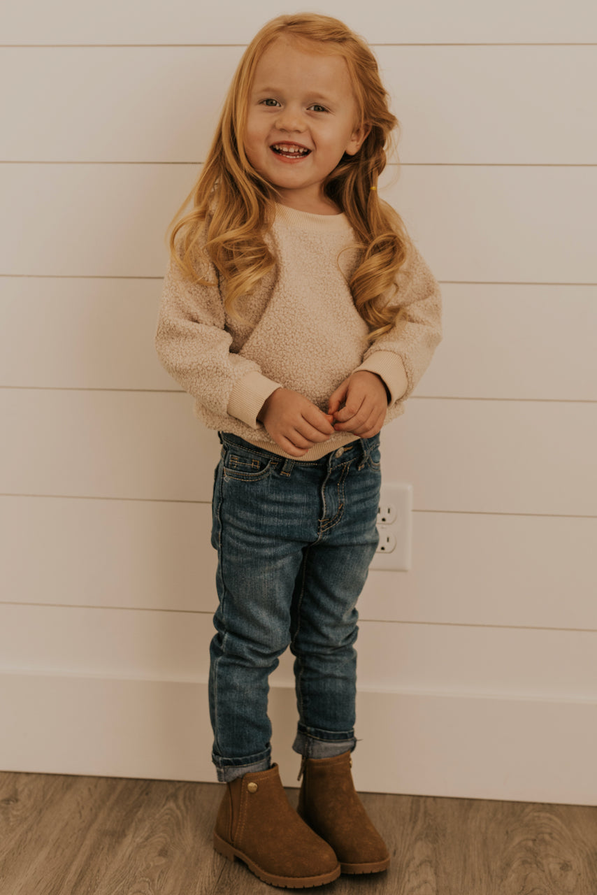 White Cream Girls Sherpa Top Outfit | ROOLEE