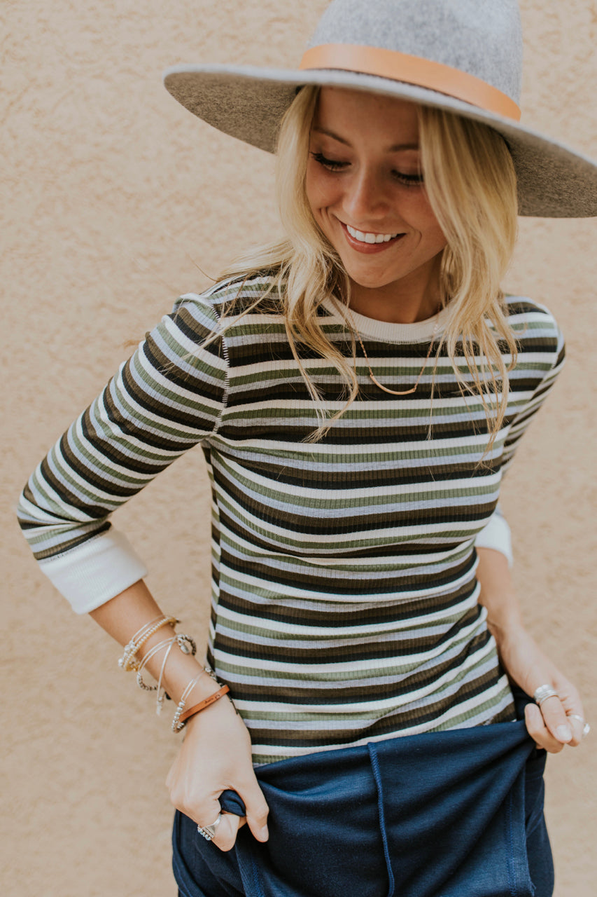 Stripe Sweater Top Outfit Ideas | ROOLEE