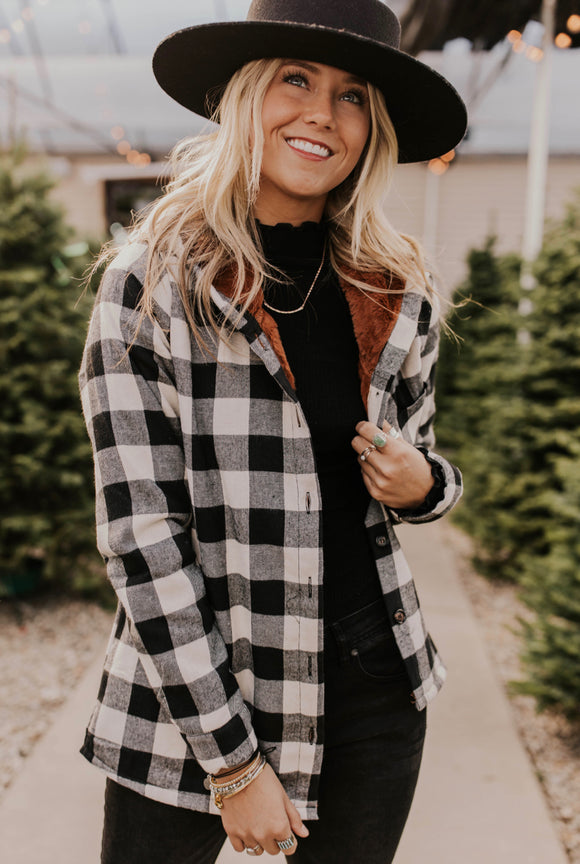 Flannel Hooded Jacket with Fur Lining | ROOLEE