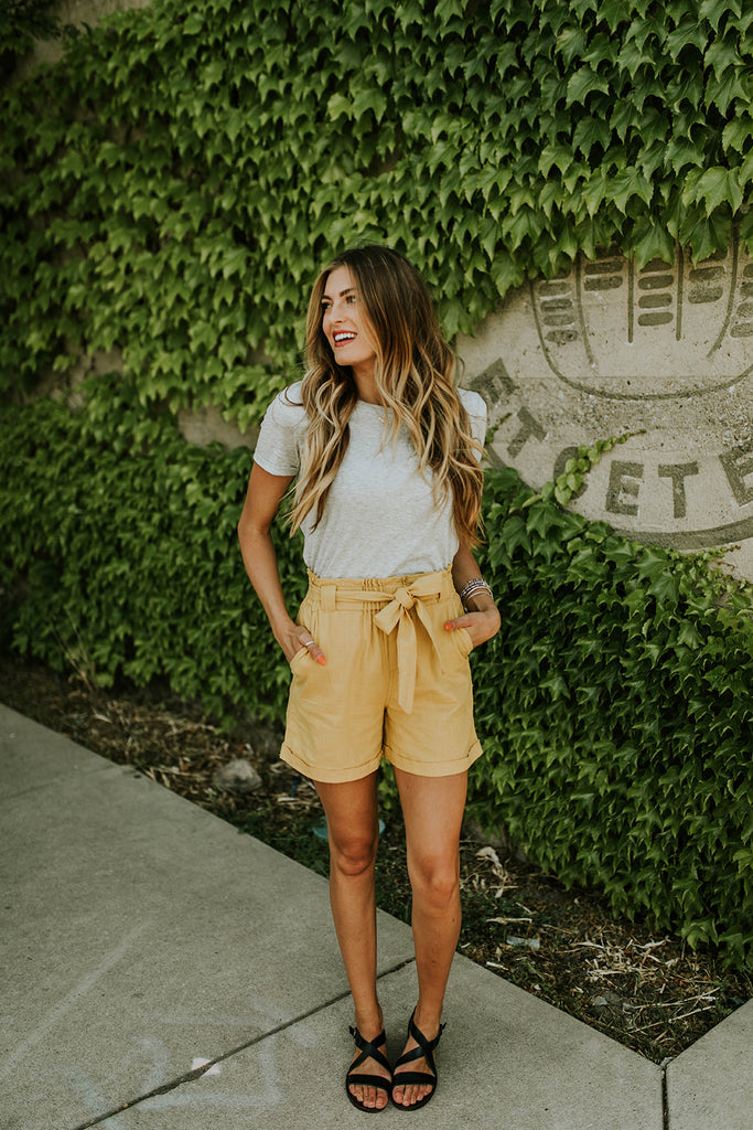 Mustard High Rise Shorts with Paper Bag Waist | ROOLEE