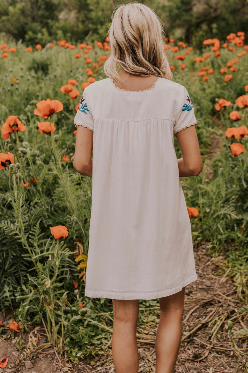 Short Cream Embroidered Dress | ROOLEE