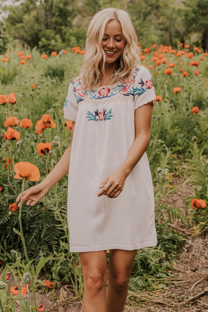 Embroidered Short Dress | ROOLEE