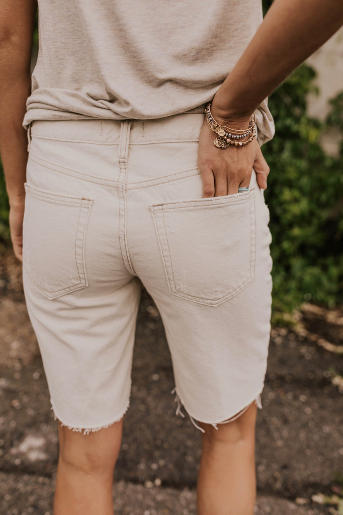 Modest White Summer Shorts | ROOLEE