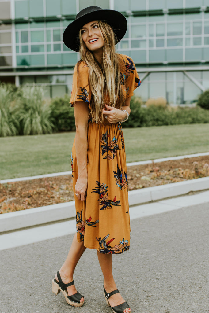 Mustard Floral Dress | ROOLEE