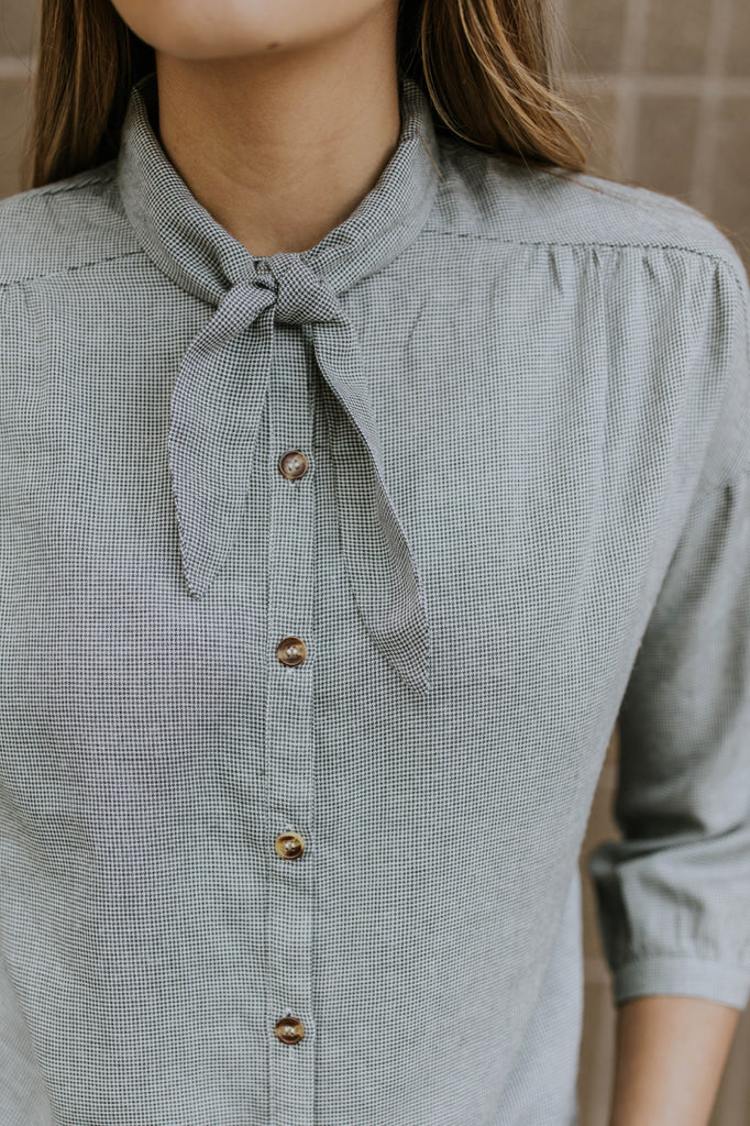 Grey Tie-Neck Blouse | ROOLEE