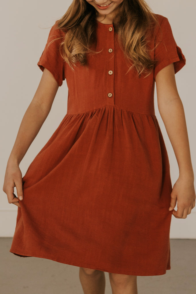 Rust Button Up Dress for Girls | ROOLEE