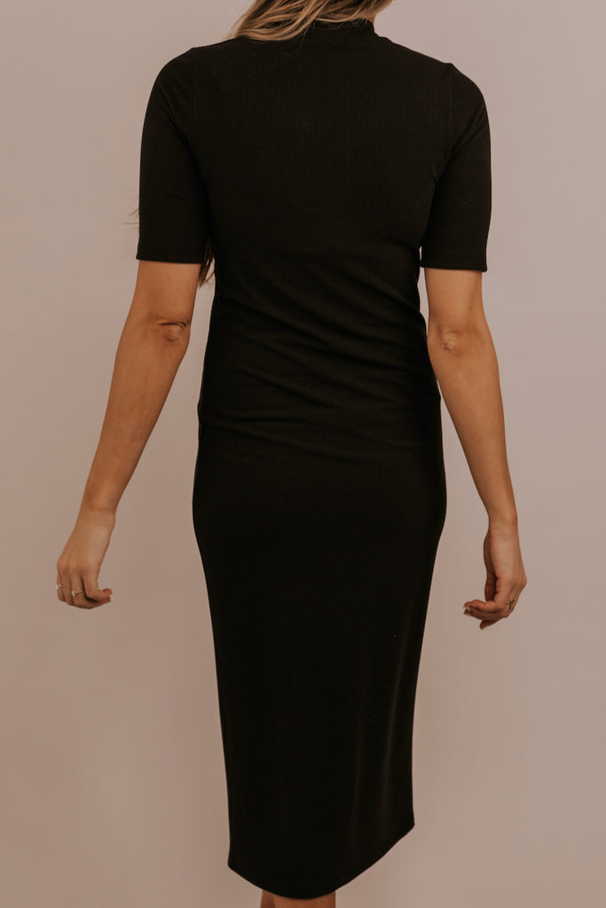 Black Short Sleeve Maxi Dress | ROOLEE