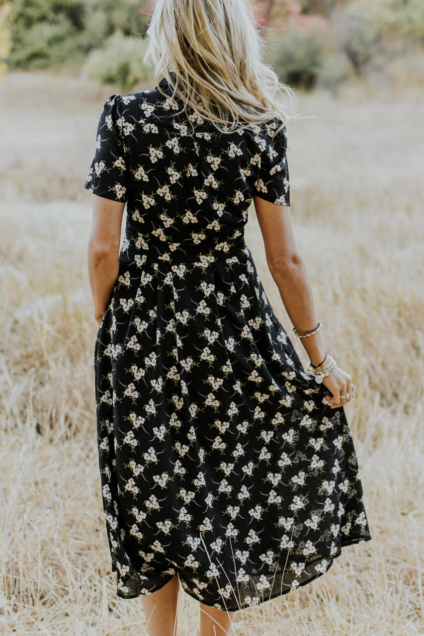 Floral Print Dress in Black | ROOLEE