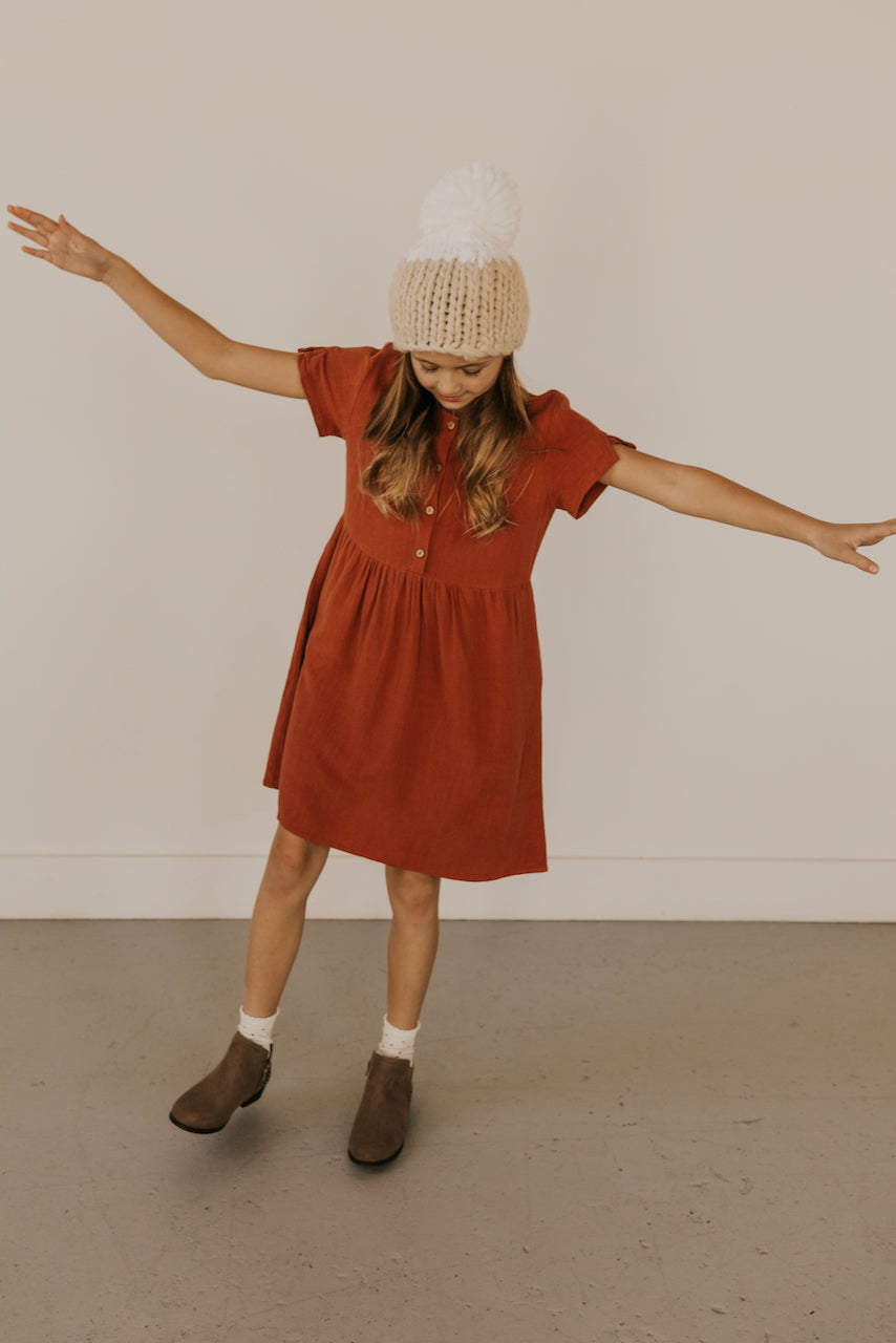 Dark Brick Lightweight Girls Dress | ROOLEE