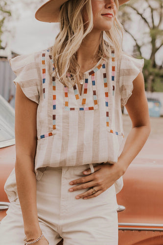 Embroidered Stripe Blouse | ROOLEE