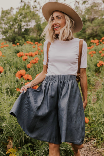 Cute Linen Flared Shorts | ROOLEE