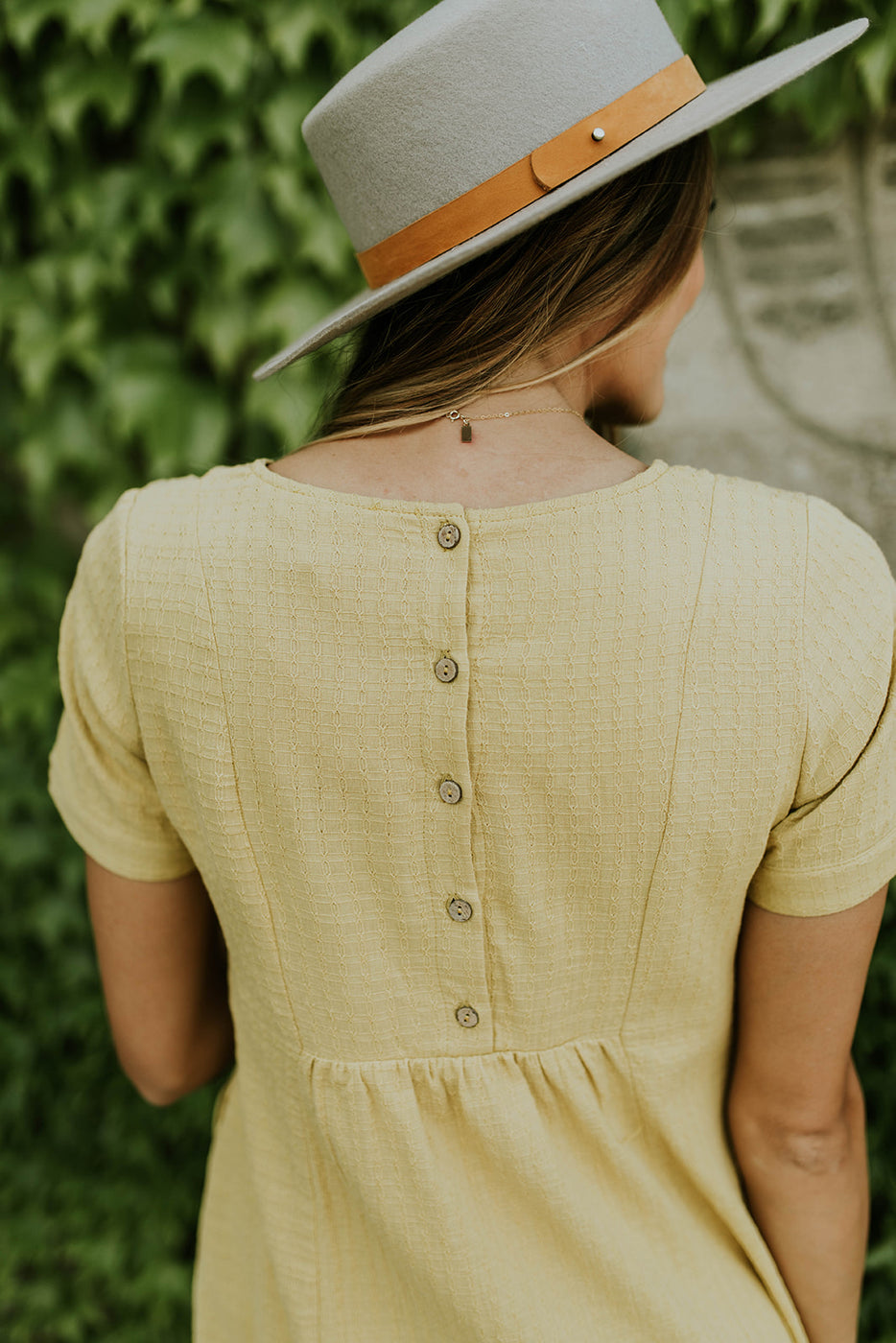 Wooden Button Back Dress | ROOLEE
