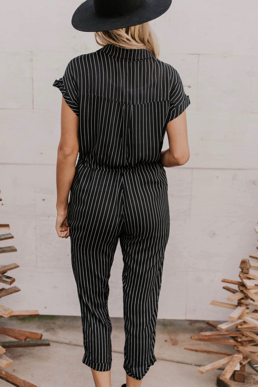 Striped Waist Tie Jumpsuit | ROOLEE