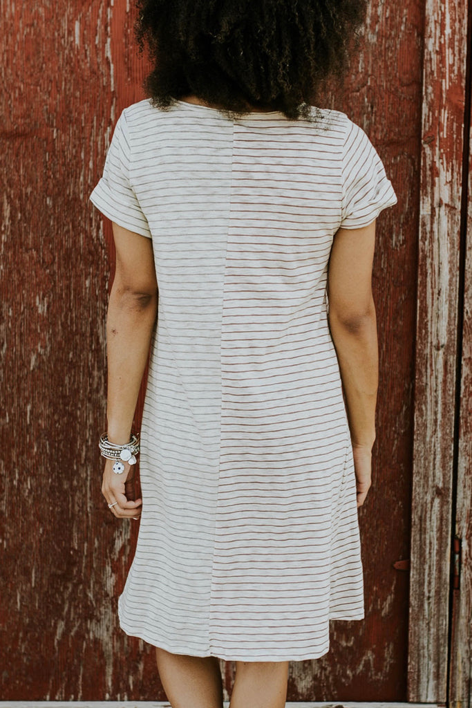 Salmon and White Stripe Dress | ROOLEE