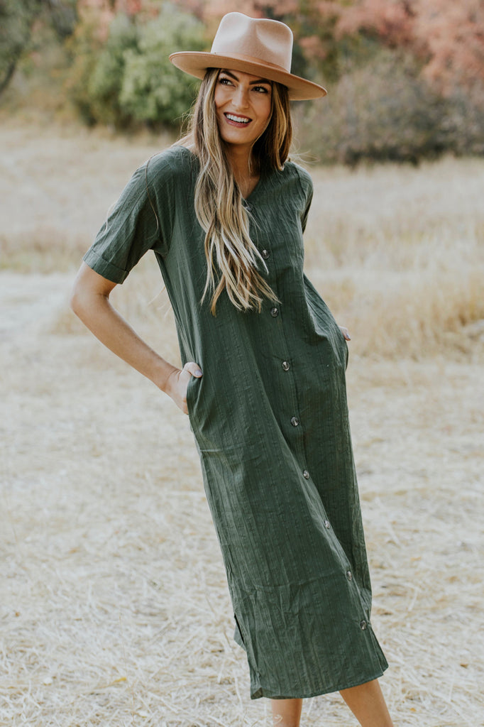 Olive Green Textured Dress | ROOLEE