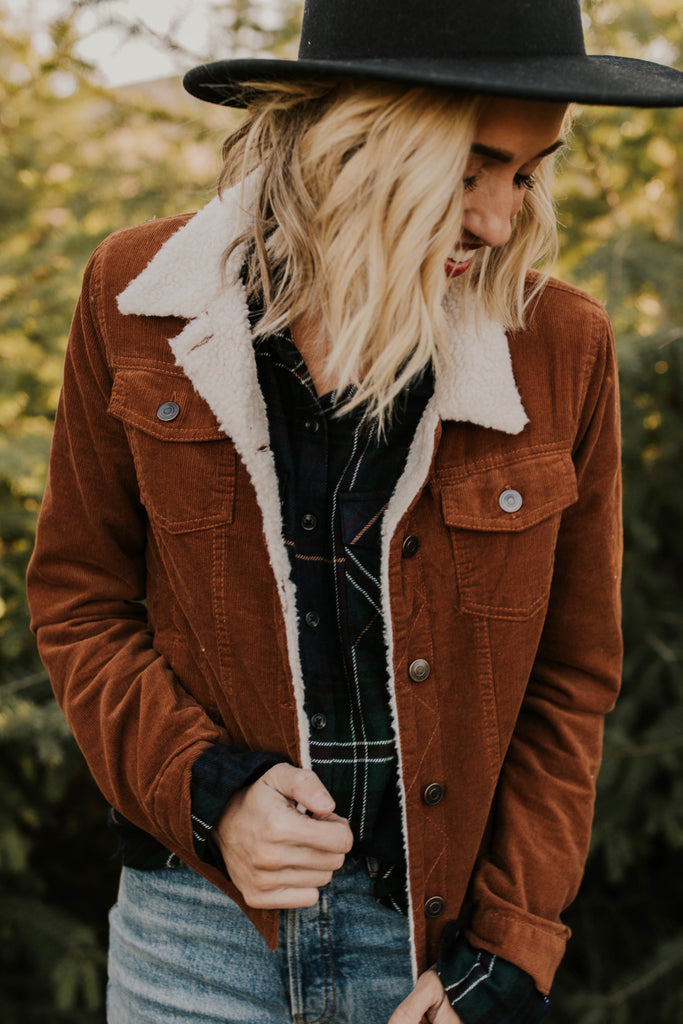 Brown Corduroy Jacket with Sherpa Lining | ROOLEE