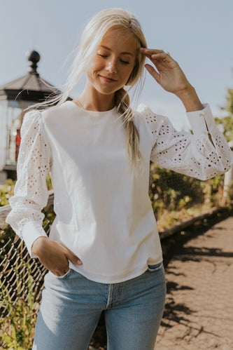 Cute white eyelet blouses for women | ROOLEE