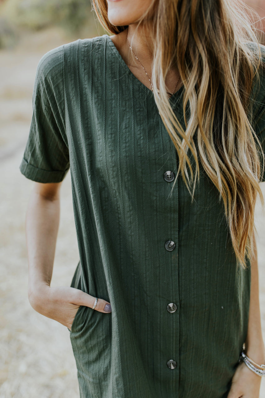Short Sleeve Button Dress in Olive | ROOLEE