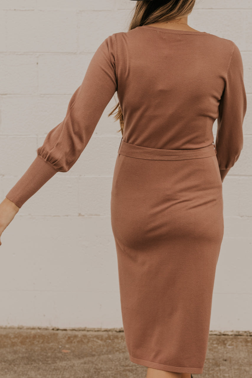 Long Sleeve Camel Dresses | ROOLEE